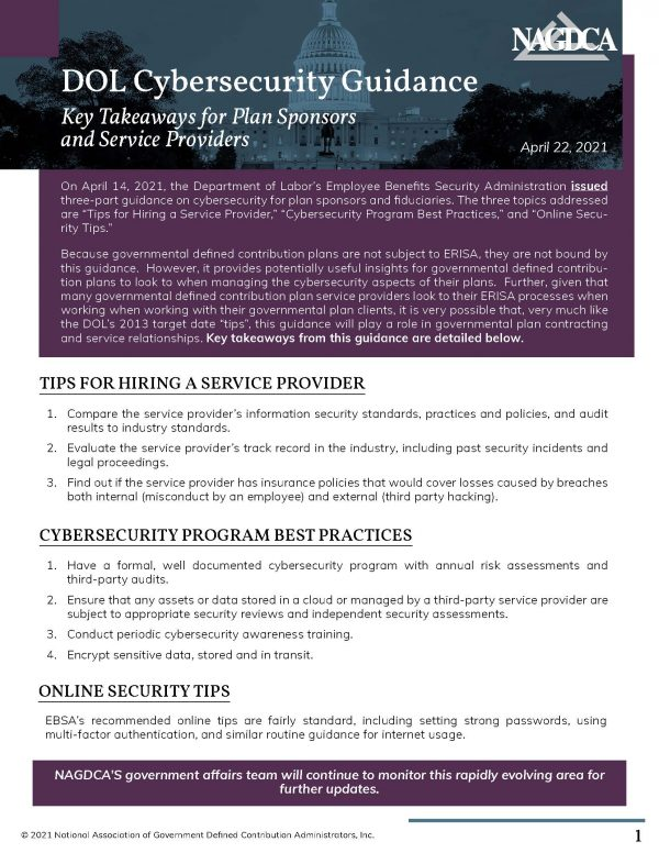 DOL Cybersecurity Guidance - Key Takeaways for Plan Sponsors and Service Providers