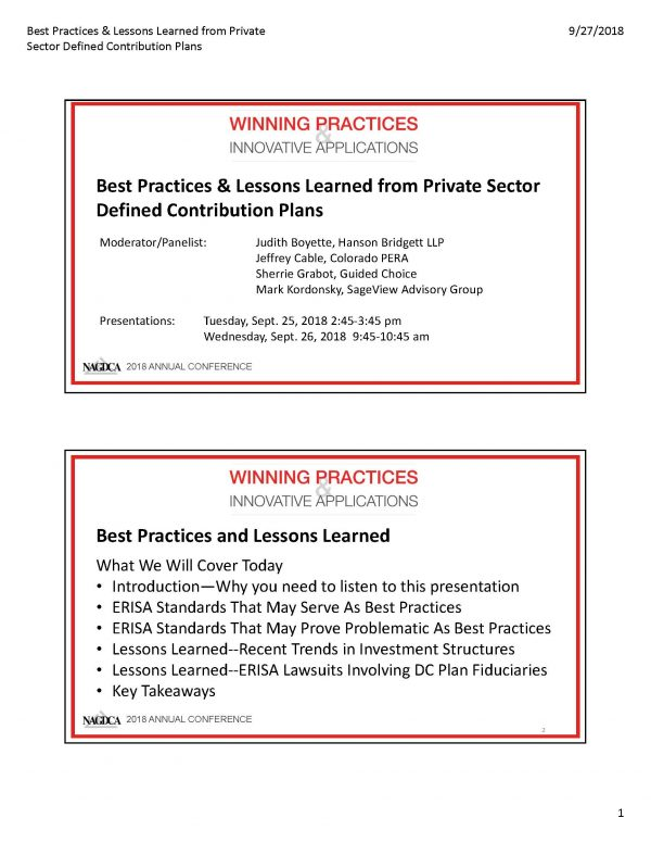 Best Practices & Lessons Learned from Private Sector Defined Contribution Plans