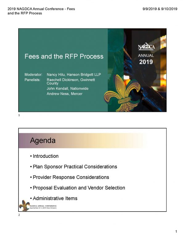 Fees and the RFP Process