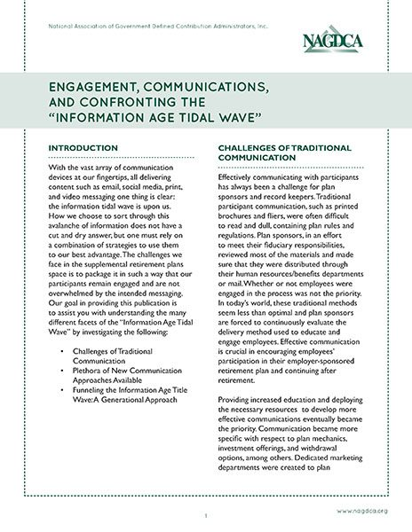 "Engagement, Communications, and Confronting the ""Information Age Tidal Wave"""