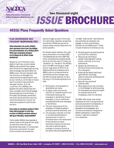 403(b) Plans Frequently Asked Questions