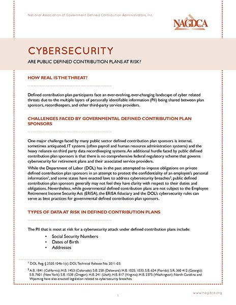 Cybersecurity: Are Public DC Plans At Risk?