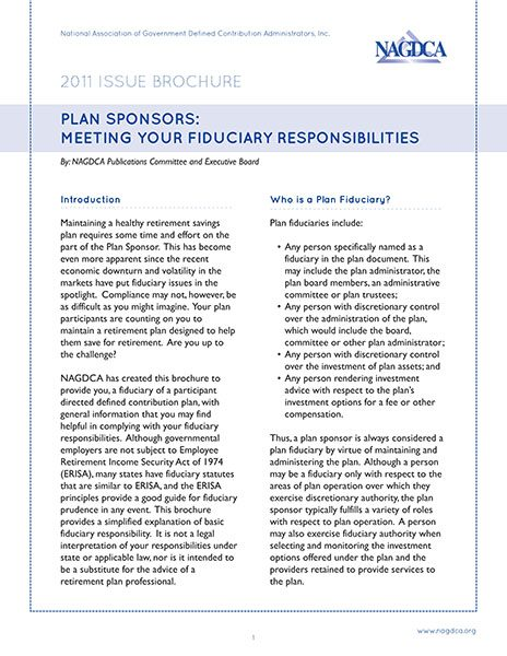Plan Sponsors: Meeting Your Fiduciary Responsibilities