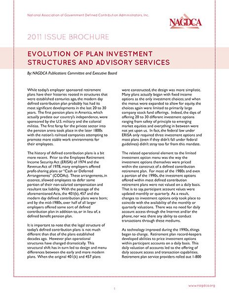 Evolution of Plan Investment Structures and Advisory Services