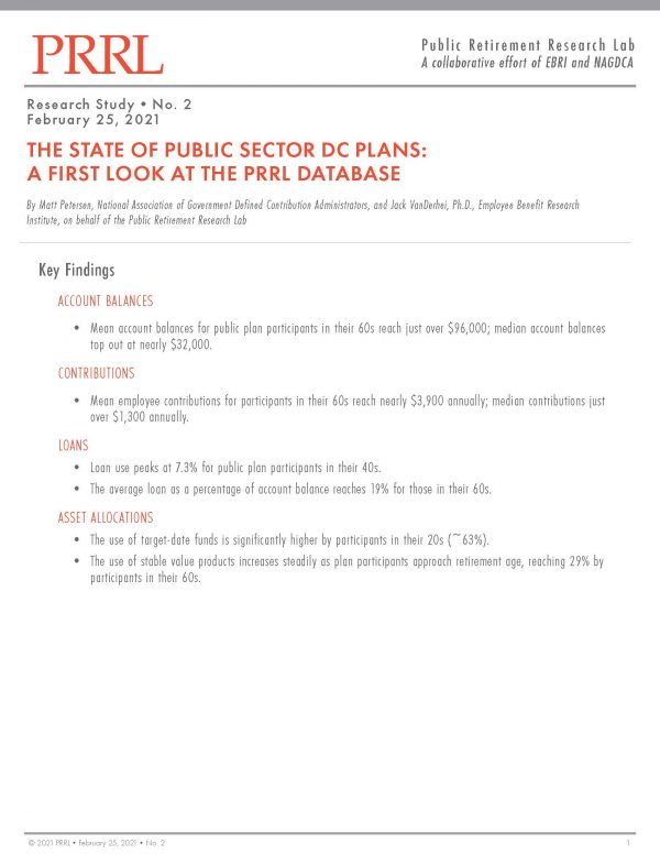 The State of Public Sector DC Plans: A First Look at the PRRL Database