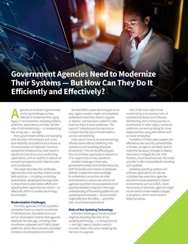 Enterprise Iron - Government Agencies Need to Modernize Their Systems – But How Can They Do It Efficiently and Effectively?