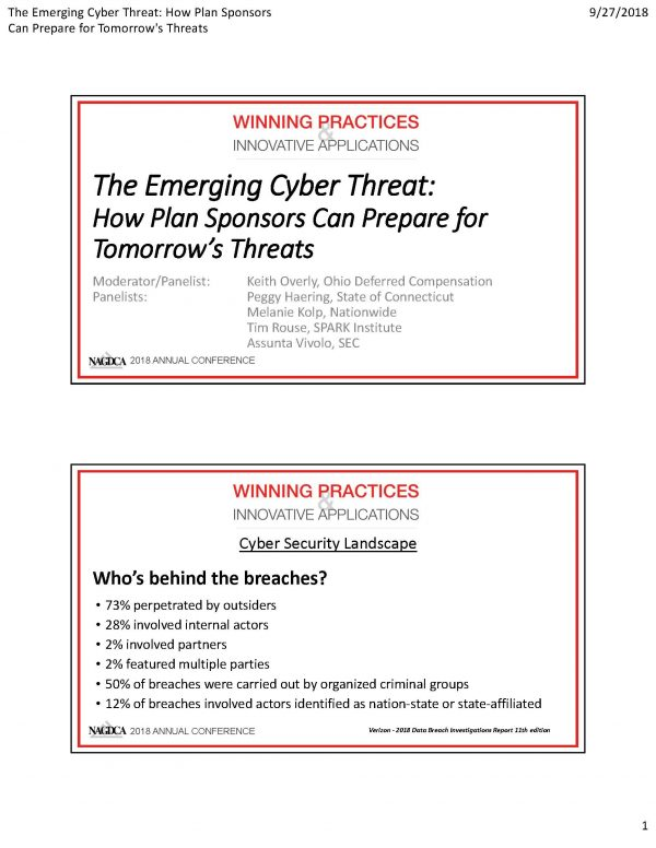 The Emerging Cyber Threat: How Plan Sponsors Can Prepare for Tomorrow's Threats