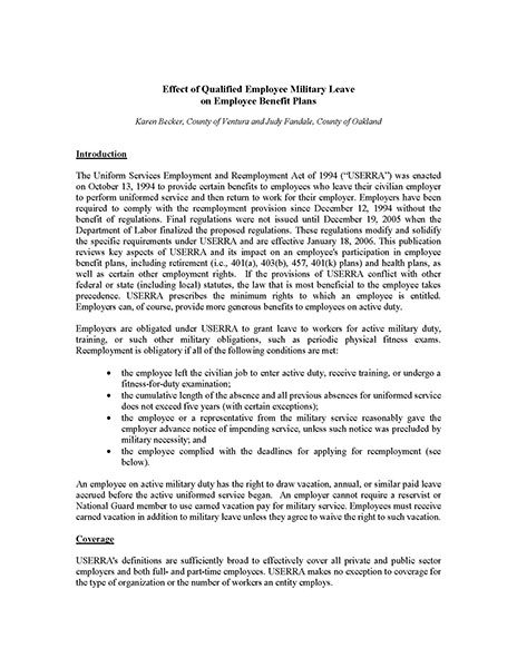 Effect of Qualified Employee Military Leave on Employee Benefit Plans